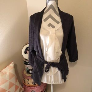 Cream Top with Faux Tie Detail NWT